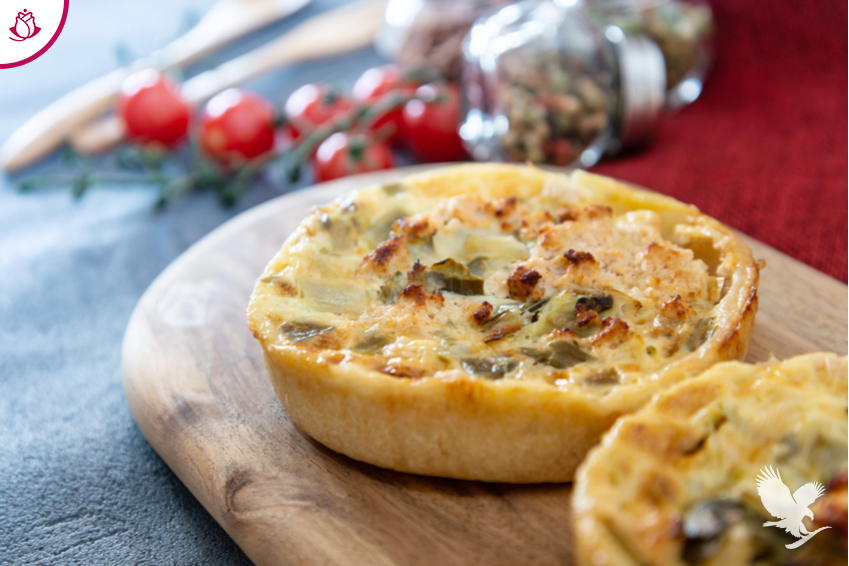Mini Quiches al Porro e Aloe Vera