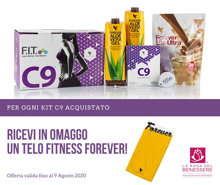 PROMOZIONE KIT C9 - Se lo acquisti entro il 9 Agosto avrai in omaggio un telo fitness Forever! - Succoaloevera - Forever Living